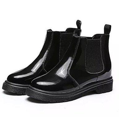 5 Puntera 5 5 De CN40 Negro Zapatos For Botines De Redonda Combate 5 Mujer Pu Botines US8 RTRY UK6 Botas Otoño Us8 Chunky Uk6 Casual Talón EU39 Cn40 Ue39 Botas fPq4WwHx