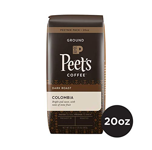 Peet's Coffee Colombia, Dark Roast Ground Coffee, 20 Ounce Peetnik Pack, Direct Trade Coffee