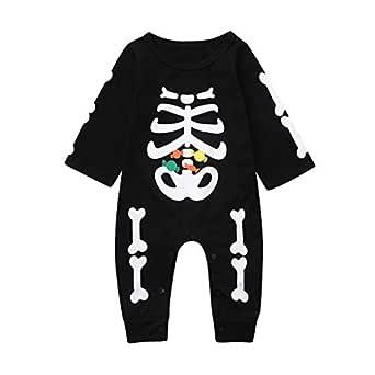 QinMMROPA Bebé recién Nacido niños niñas Halloween Esqueleto Estampado Mono Ropa Bodies Halloween Disfraz Calabaza Bruja Fantasma Murciélago
