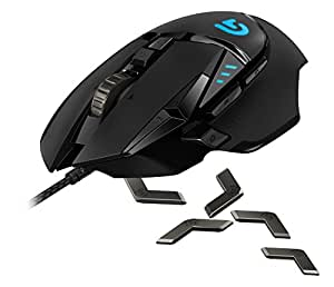 Logitech G502 Proteus Spectrum RGB Tunable Gaming Mouse, 12,000 DPI On-The-Fly DPI Shifting, Personalized Weight and Balance Tuning with (5) 3.6g Weights, 11 Programmable Buttons