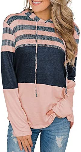 EVALESS Women Sweatshirts and Hoodies Long Sleeve Drawstring Sweatshirts Color Block Striped Pullover Top