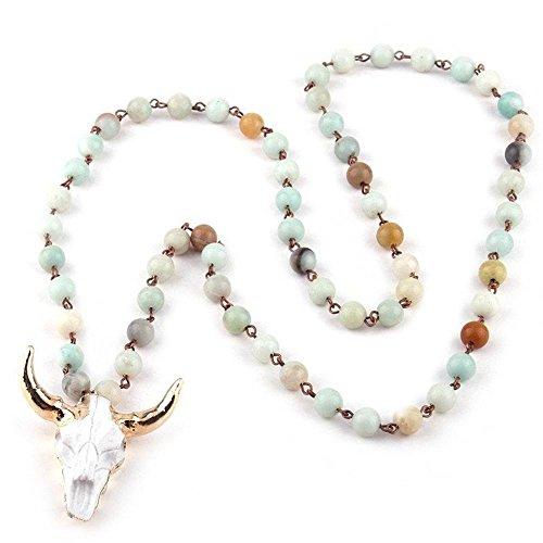 TheBlingStore bull head necklace, bull head pendant necklace, boho necklace, bohemian necklace, punk necklace, punk gothic necklace, bull head with horns