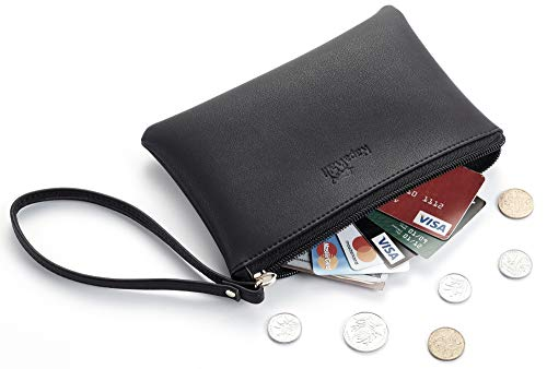 NapaWalli Genuine Leather Cash Coin Purse Pouch Make up Cellphone Bag with Strap (Cutie Black)