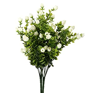 PIXNOR Artificial Eucalyptus Plant Flowers for Home Decor and Wedding Decorations (White) 53
