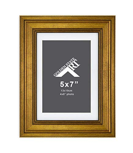 Golden State Art,5x7 Dark Gold Frame for 4x6 Photo with White Mat, Table-Top Easel Stand, Real Glass (Vertical + Horizontal) (1)