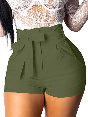 GOBLES Womens Summer Casual Shorts High Waist Ruffle Bow Tie Shorts Olive