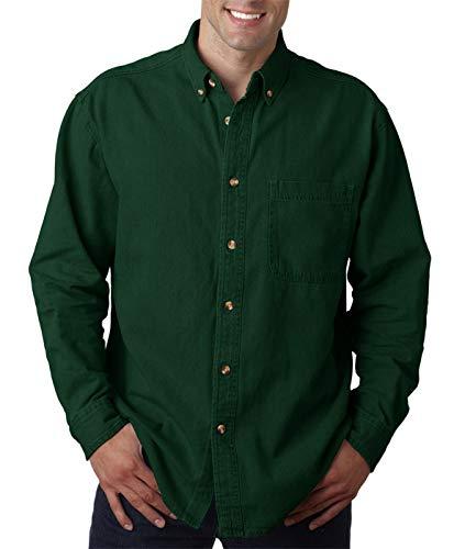Ultraclub Mens Long-Sleeve Cypress Denim with Pocket 8960 -Forest Green 4XL