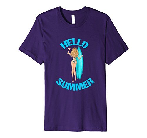 Mens Hello Summer Bikini Blonde Girl Surfboard T-Shirt 3XL Purple