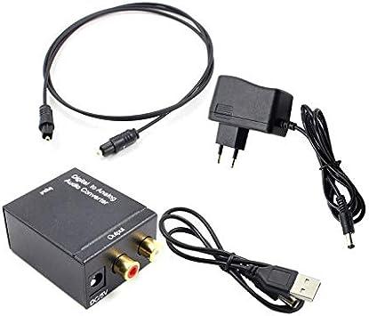 Adaptador convertidor de Audio óptico y coaxial R/L Convertidor de Audio Digital coaxial óptico a analógico RCA con Cable de Fibra: Amazon.es: Electrónica