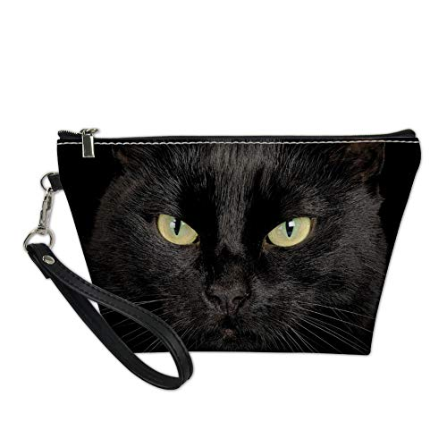 Showudesigns Cat Black Makeup Bag Cosmetic Case Toiletry Kit Handy Bags PU Leather Storage Handag -