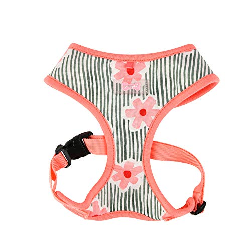 Puppia PATA-HA1714-PK-M Verna Harness Pink M Harness for Dogs - Floral Dog Harness