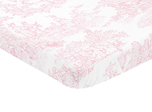 - Sweet JoJo Designs Pink and White Baby Fitted Mini Portable Crib Sheet for French Toile Collection
