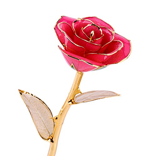 Real Rose Dipped in 24k Gold, Forever Preserved Long Stem Rose with Golden Leaf, Perfect Gift Idea for Her (Pink)