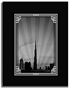 Dubai Skyline Down Town - Black And White With Silver Border No Text F04-m (a3) - Framed