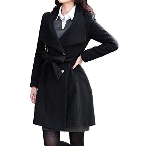Abrigo L Nonbrabd XS invierno vintage mujer tallas doble chaqueta larga S para botonadura negro de de estilo M rtrqOwa