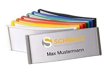 Schmalz Werbeservice Kunststoff Namensschild incl goldfarbig oder weiss graviert Namensschilder Gravur mit Magnet silberfarbig weiss