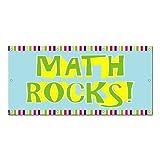 Graphics and More Math Rocks - Classroom School Teachers Sign Banner - 58'' (width) X 28'' (height)