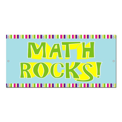 Graphics and More Math Rocks - Classroom School Teachers Sign Banner - 58'' (width) X 28'' (height) by Graphics and More