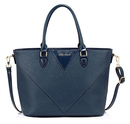 Faux Shoulder Large Handbags Bag Leather Bag Navy Tote School Designer For LeahWard Women's 536 Bags Her Iqw48TIX