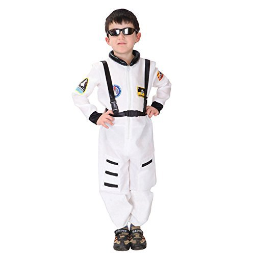 [Discoball Child Kids Astronaut Costume Spaceman Fancy Dress Outfit Uniform Halloween Cosplay Costume Spacesuit(White,L 7-8 years) by] (Spaceman Suit Costume)