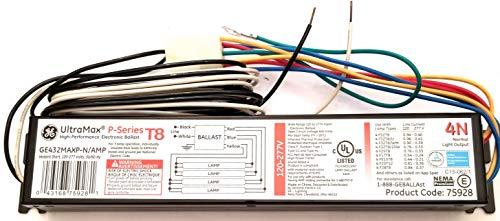 (10 Pack) GE 75928 GE432MAXP-N/Amp 3 or 4 Lamp T8 Electronic Ballast F32T8 F25T8 F17T8 FE15T8 F25T12 F28T8 F36T8 F40T8-120 Volt To 277 Volt - Ultra Max 4N Amp Connector P Series ()