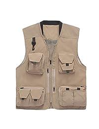 Vest Multi-Pocket Photography Vest Camera Fishing Vest Vest ZHJING (Color : Beige, Size : 2XL)