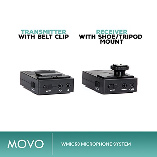Movo WMIC50 2.4GHz Wireless Lavalier Microphone System with Integrated 164-foot Range Antenna (Includes Transmitter with Belt Clip, Receiver with Camera Shoe, Lavalier and 2 Earphones) by Movo (Image #2)