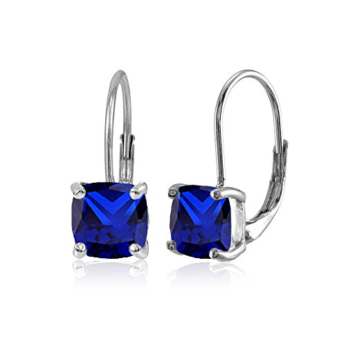 Sterling Silver Created Blue Sapphire 7x7mm Cushion-Cut Leverback Earrings ()