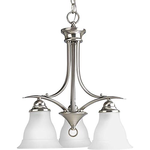 Progress P4324-09 Trinity - Three Light Pendant, Brushed Nickel Finish with Etched Glass