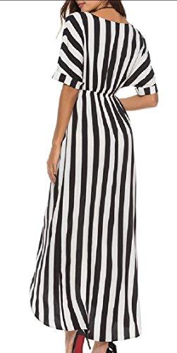 Long Wrap Dress Dress Womens Neck V Beach Faux Maxi Black Jaycargogo Boho Backless xUzAqO6xX