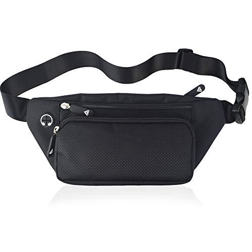 Black Grip Fanny Pack Men Women Waist Bag Pack Quick Release Buckle Water Resistant -