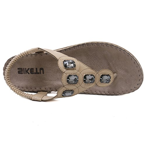 Hattie Women's Bohemian Rhinestone Sandals Summer Beach Clip Toe Shoes apricot ZYQCrWlQd