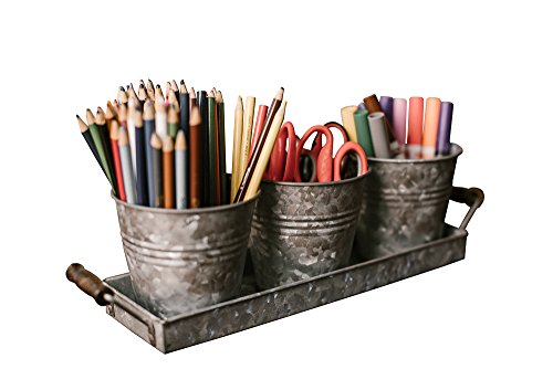 Farmhouse Decor - Silverware Caddy - Galvanized Tray Set with Wooden Handles and 3 Buckets by H+K Designs