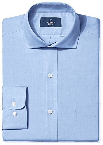 BUTTONED DOWN Men's Classic Fit Cutaway-Collar Non-Iron Dress Shirt (Pocket), Blue, 18