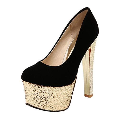 Con Nero Decolte Plateau Alto Scarpe On Glitter Spuntate Slip Vitalo Tacco Spillo Eleganti Donna A B46An4Sz