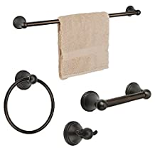 "Dynasty Hardware 9300-ORB-4PC Bay Hill Series Bathroom Hardware Set, Oil Rubbed Bronze, 4-Piece Set, With 24"" Towel Bar"