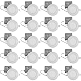 QPLUS 4 Inch LED Pot Lights (5000K Day Light, 20 Pack), 10 Watts (=75W), Dimmable, 750 lumens, 50000 Hours, ETL / Energy Star / CSA, Damp Location Safe & Insulation Contact IC Rated, Slim Panel LED Recessed Lighting/Ultra Thin Low Profile Retrofit Ceiling Light with Junction Box/Driver