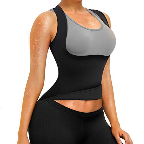 Rolewpy Women Sweat Neoprene Waist Trainer Hot Slimming Sauna Vest Tummy Control Body Shaper for Weight Loss (Inside Black Color, M(US 8-10))