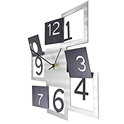 American Made Brushed Aluminum Modern Patchwork Wall Clock, 12 Silver and Black