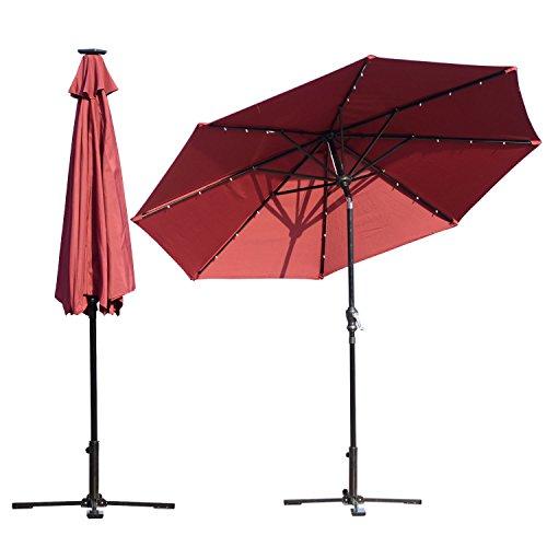 WALLER PAA 9ft Patio Solar Umbrella LED Outdoor Pool Parasol Garden Sun Shade Tilt w/ Crank (Wine - Brands Guys For Best Designer