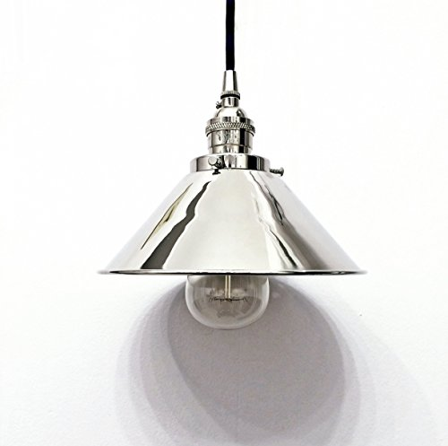 Polished nickel chrome pendant light lamp steampunk industrial 8