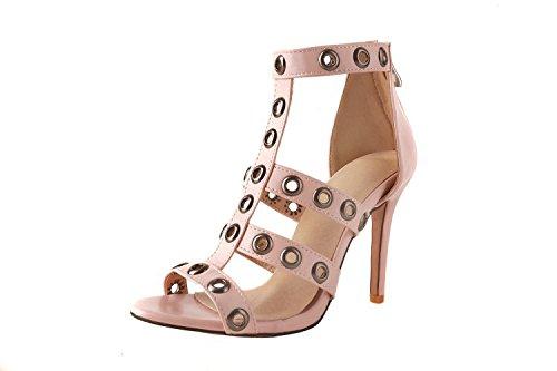 de de mujer Fina con mujer boca sandalias Pink con de de sandalias alto pescado decorativa tacón de qqx8wAZrI