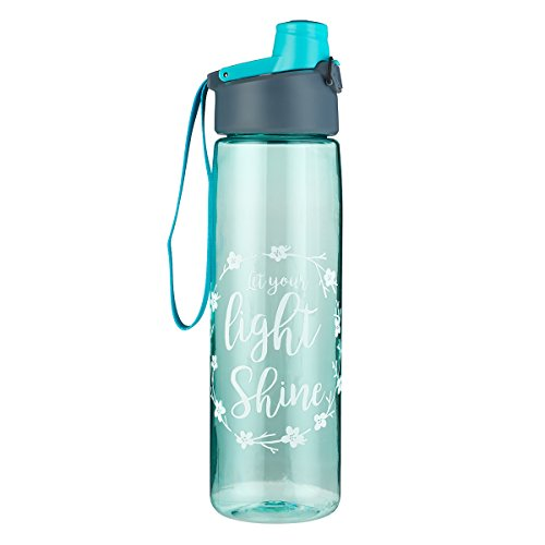 Let Your Light Shine Teal Water Bottle w/Matthew 5:16 - Christian Water Bottle for Women, Scripture Inspirational Water Bottle for Everyday Use (BPA Free 32oz Wide Mouth Water Bottle)