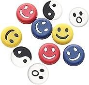 N / B 10 Pcs Tennis Racket String Shock Absorber, Smiley Face Pattern Soft Vibration Dampeners for Tennis Spor
