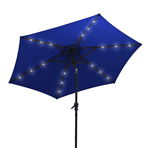 AOODA 9 ft LED Lighted Patio Umbrella LED Solar Power Table Market Umbrella, with Tilt Adjustment and Crank Lift System, Perfect for Outdoors, Patio, or any Parties (Blue) Review