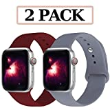 GZ GZHISY Compatible for Apple Watch Band 38mm 40mm, Soft Silicone Sport Strap Replacement iWatch Wristbands Compatible for iWatch Apple Watch Series 1, 2, 3, 4, 38mm 40mm S/M, 2 Pack