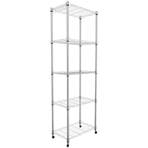 Leoneva Deluxe Commercial Grade Heavy Duty 5-Tier Standing Steel Wire Shelving Unit, Adjustable Chrome Sturdy Rolling Organizer Rack with Wheels and Hooks (Silver) - Medium Deluxe Storage Unit