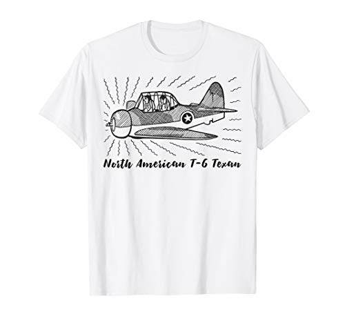 North American T-6 Texan WW2 Plane Art Funny T-Shirt for sale  Delivered anywhere in USA