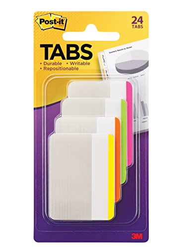 Post-it Tabs, 2-Inch Lined, 4 Assorted Bright Colors, 6-Tabs/Color, 24-Tabs/Pack