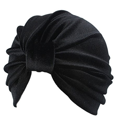 Gobought Womens Turban Indian Style Velv - Black Velvet Hat Shopping Results